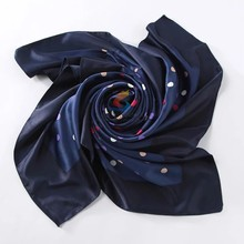 New Fashion Accessories Female Satin Women Scarf ,Vintage Wand Polka Dot Printed Square Silk Scarf,Head Bandana