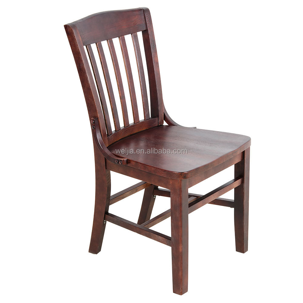 F2004 Weljia Mahogany Finish Wooden School House Chair For