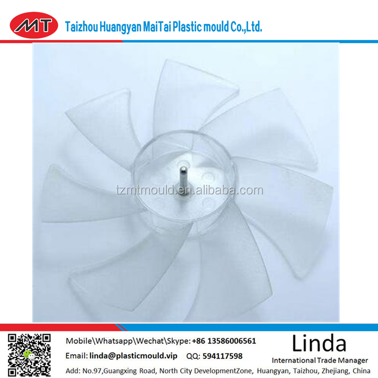 Latest designGood quality clear transparent fan blade parts plastic injection mould/new product clear PC moulding fan blade mold