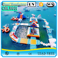 {Qi Ling} amusement floating Giant Inflatable Water Park Equipments Water Games Inflatable Aqua Park For Adults