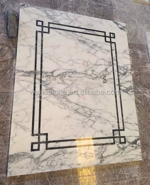 Marble Inlay Borders : Vokalas white marble simple water jet medallion design