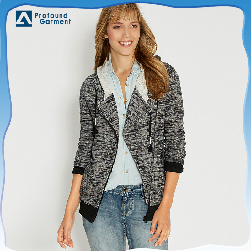 asymmetrical zipper up ladies hooded cardigan knitting pattern