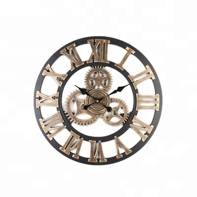 40cm diameter Handmade Oversized 3D retro rustic decorative luxury art big gear wooden vintage large wall clock for gift