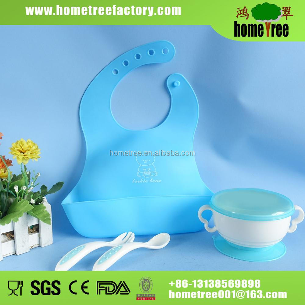 3pcs silicone cutlery dinner baby feeding set with bib and suction bowl