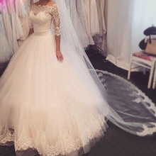 ON3054 China Online Store ball gown 3/4 Sleeve Wedding Dresses Vintage Wedding Gowns Floor Length White New Design Bridal Gown