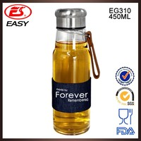 Wholesale EG310 BPA free 450ML BPA free glass material glass water bottle with handle ring