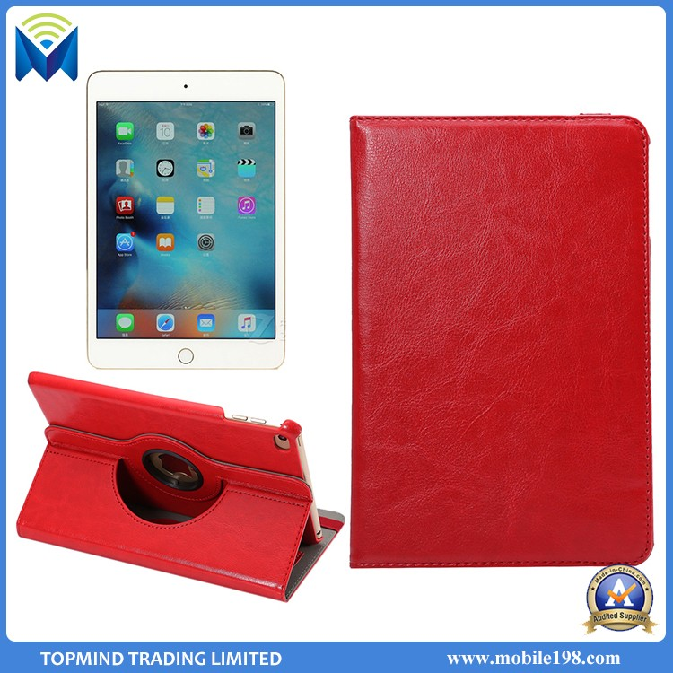 high quality pu leather case for ipad mini 4 360 degree rotating stand case