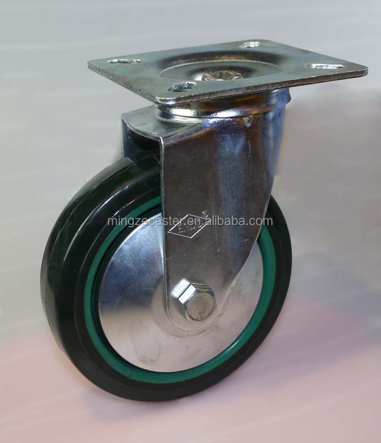 industrial 4inch green polyurethane swivel castor wheel