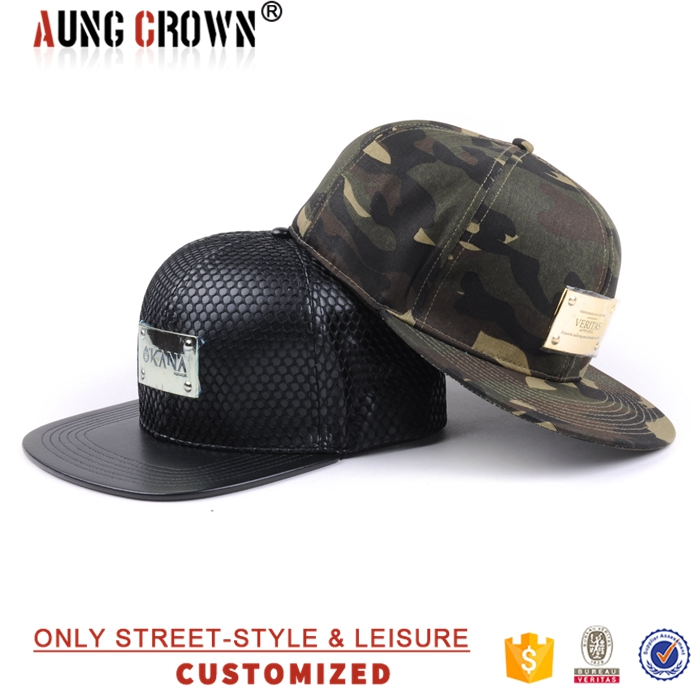 Custom 6 panel  metal patch  snapback cap,leather strap mesh snapback hat