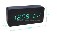 Hot sales table LED wood clock with USB / smart led wood clock for home decoration