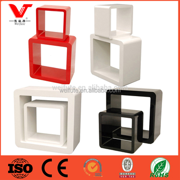 Home and shop glossy color wood wall shelf cube for shoe display