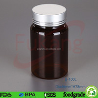 Newest Design 100cc PET Nutritive Medium Bottle,BPA Free Plastic Vitamin Instant Tablets Bottle With Flip Top Cap