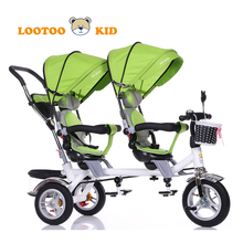 China cheap double trike with parent handle / 4/1 push car kids tricycle double seat / double seat children tricycle for sale