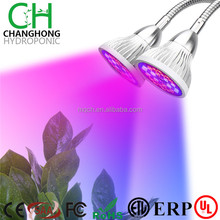 Dual Head LED Grow Light, 18W Clip Desk Lamp With 360 degree Flexible Gooseneck and Double on/off Switch for Indoor Plants Grow