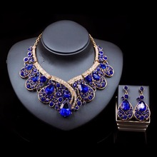New fashion nigerian jewelry set 2017 women weeding Earrings and diamond necklace