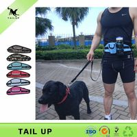 running walking hands free dog leash with waist bag
