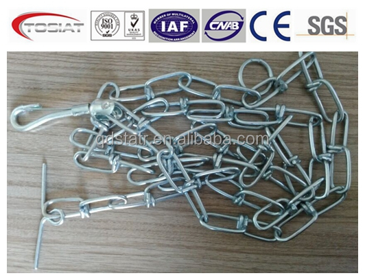 1.5m or 1.8m long galvanized double loop chain with T hook and snacth hook