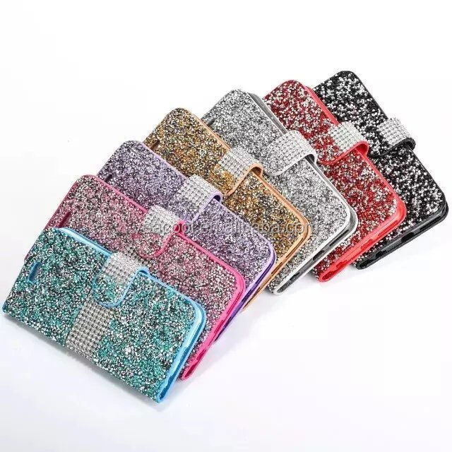 Bling Diamonds Rhinestone Card Leather Flip Wallet Case Cover for Samsung Galaxy S7 G930/S7 edge G935/S7 edge plus