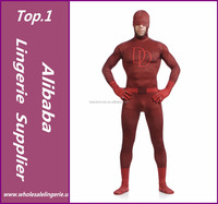 Double D Sorrel Superman Daredevil Costume Lycra Spandex Superhero Open Half-face Zentai Full Body Suit Adult Spandex Suit