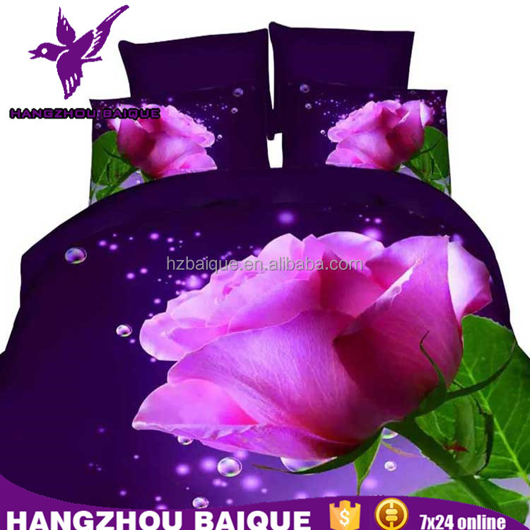Sexy Purple Rose Design King Size 3D Bedding Set