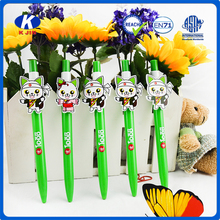 wholesale ball pen cute smiling doll with round shape green pen