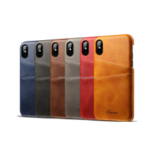 High quality leather back cover case for IPhone X, leather card holder slots case for IPhone x