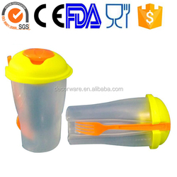 Salad Plastic Tableware, salad cup with fork