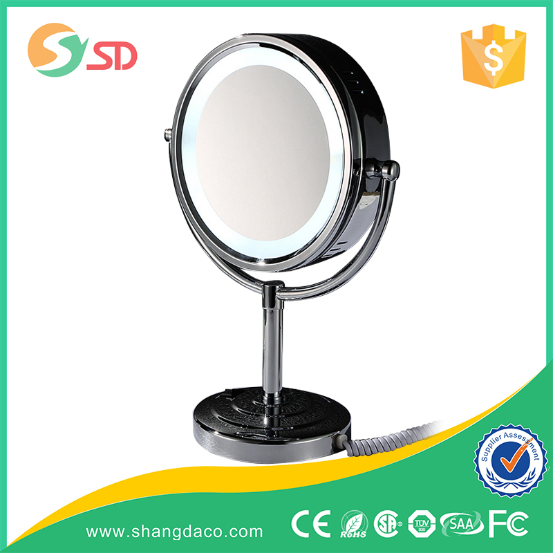 2015 square mirror indoor table lamp with cotton shade for house