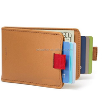 RFID Card Holder Genuine Leather Men Wallet with US Dollars Money Clip