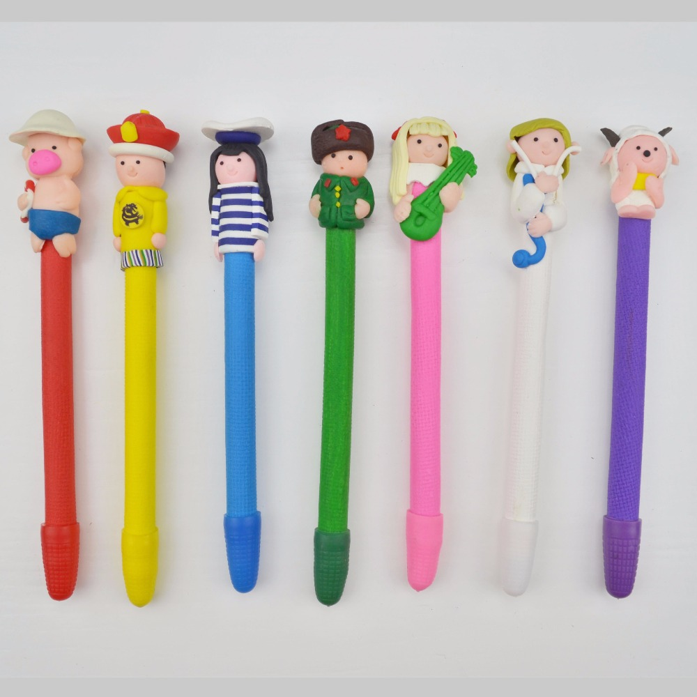 Newest handmade cartoon character polymer clay ball pen