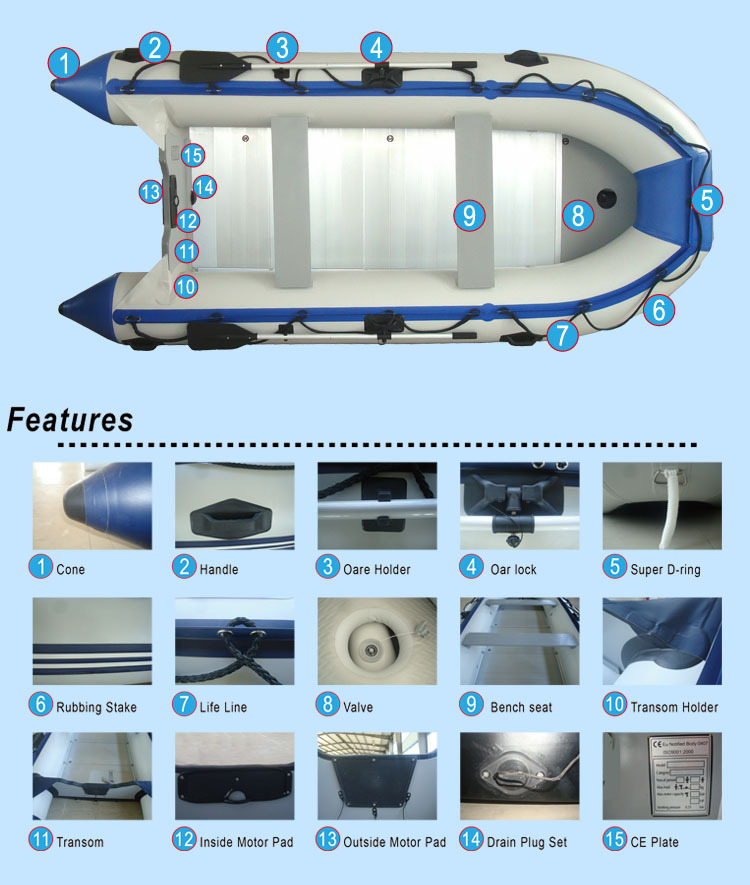 Aluminum Floor Made In China Fishing Inflatable Boat