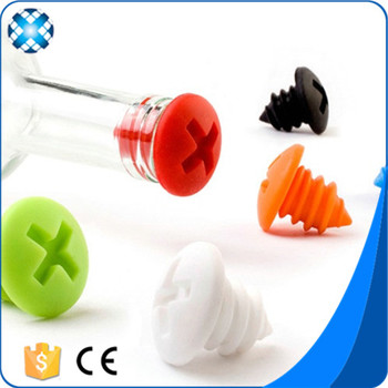 Screws Shape Customize Logo Wine Stoppers Silicone Wine Bottle Caps