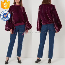 Stylish Purple Velvet Sweatshirt Women Apparel Wholesaler Garment Clothing