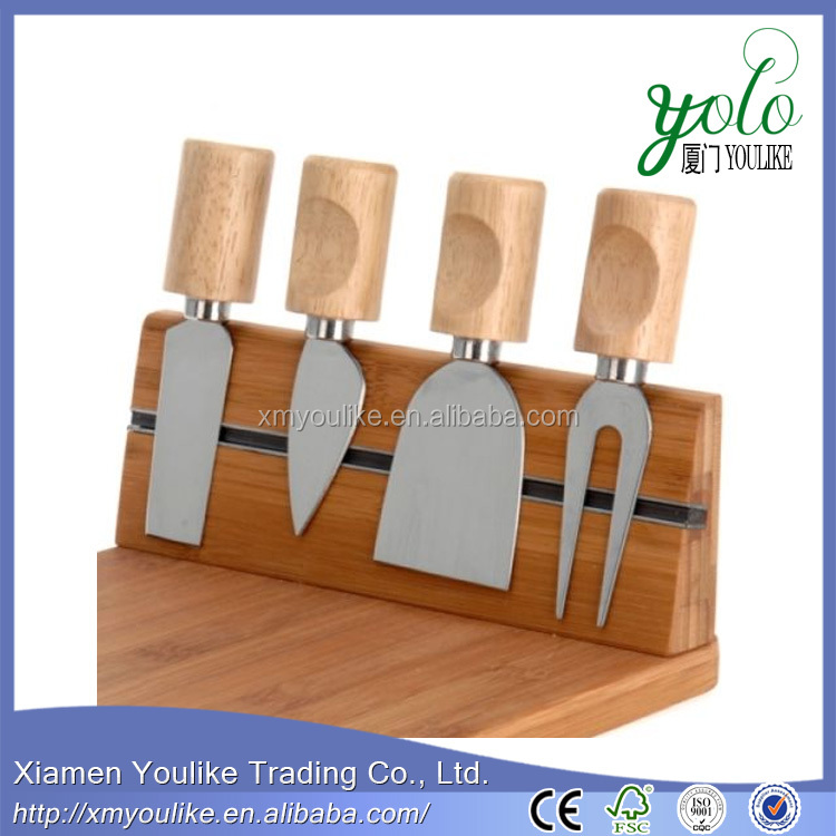 NEW 5 PIECE BAMBOO WOOD CHEESE SERVING PLATE BOARD SET