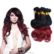 Wholesale cheap #1b Burg Two tone Ombre Body Wave Unprocessed 100% Malaysian Virgin Hair Weave Extensions