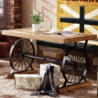 Wheel Leg and Solid Wood Table -- for Coffee Shops and Restaurants