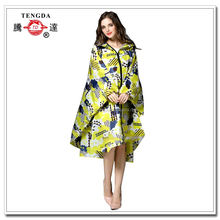 fashionable full print zip up nylon women rain poncho