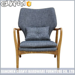 vintage design short wooden 4 legs lounge chair with back cushion