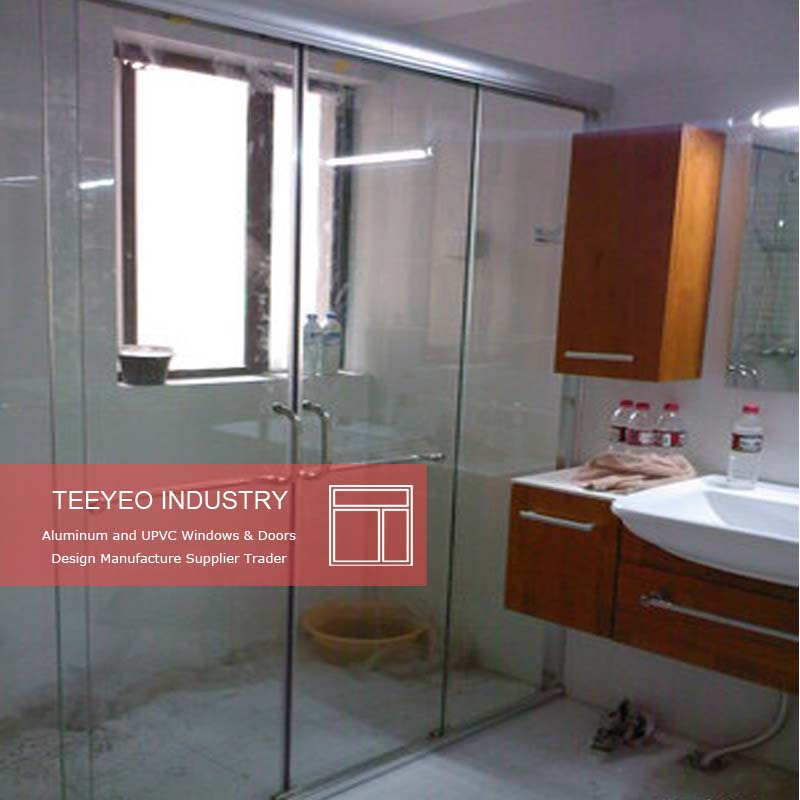 Teeyeo frameless folding glass doors with frosted glass of bathroom doors