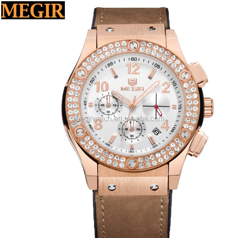 Western style stone studded bezel diamond watch megir brand relojes hombre man watch
