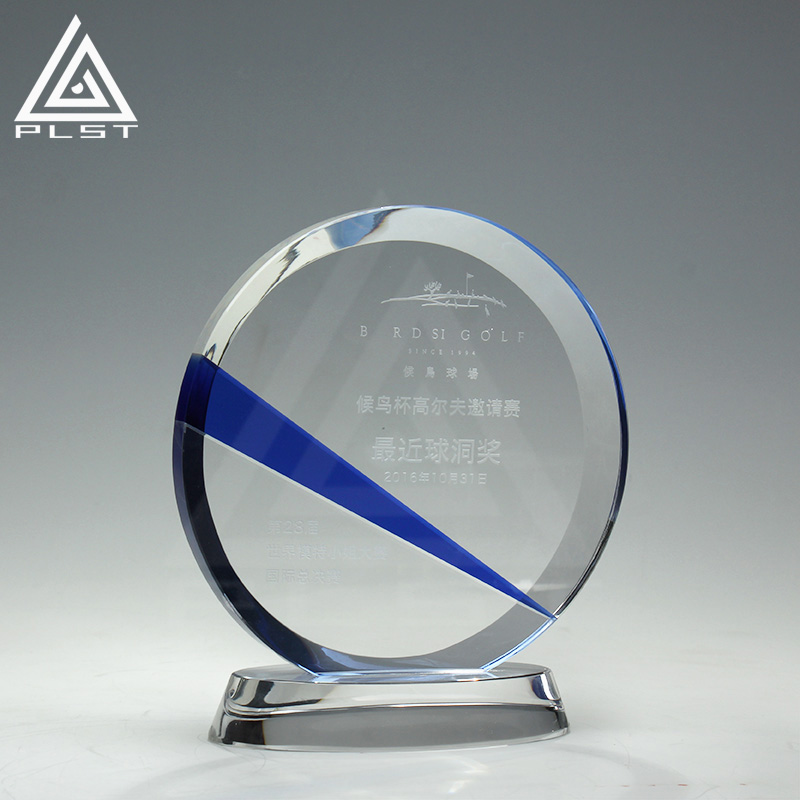 Executive Gifts Custom Design Round Crystal Awards And Trophy Plaque Glass Trophies