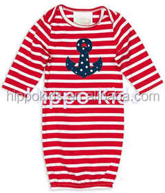 Wholesale red stripe anchor dress gown kids cotton frocks design baby girl clothes girls dresses