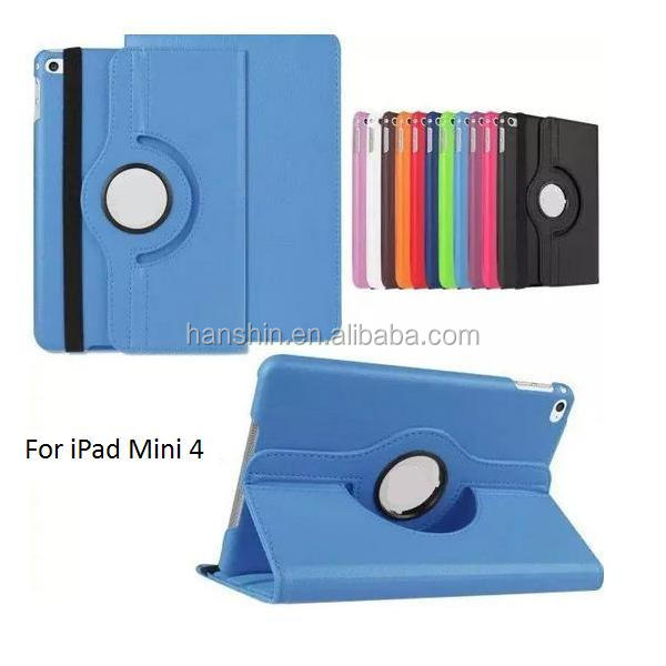 Hot Selling Smart Cover Rotate 360 Degree Flip Leather Case for Ipad min1,2,3,4