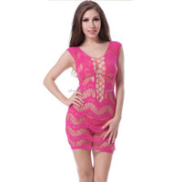 Accept sample order crocheted lace hollow-out pink mature lingerie sexy babydoll