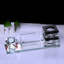 Crystal Office Accessories With Table Clock, Pen Holder and Carder Holder/Triad suit