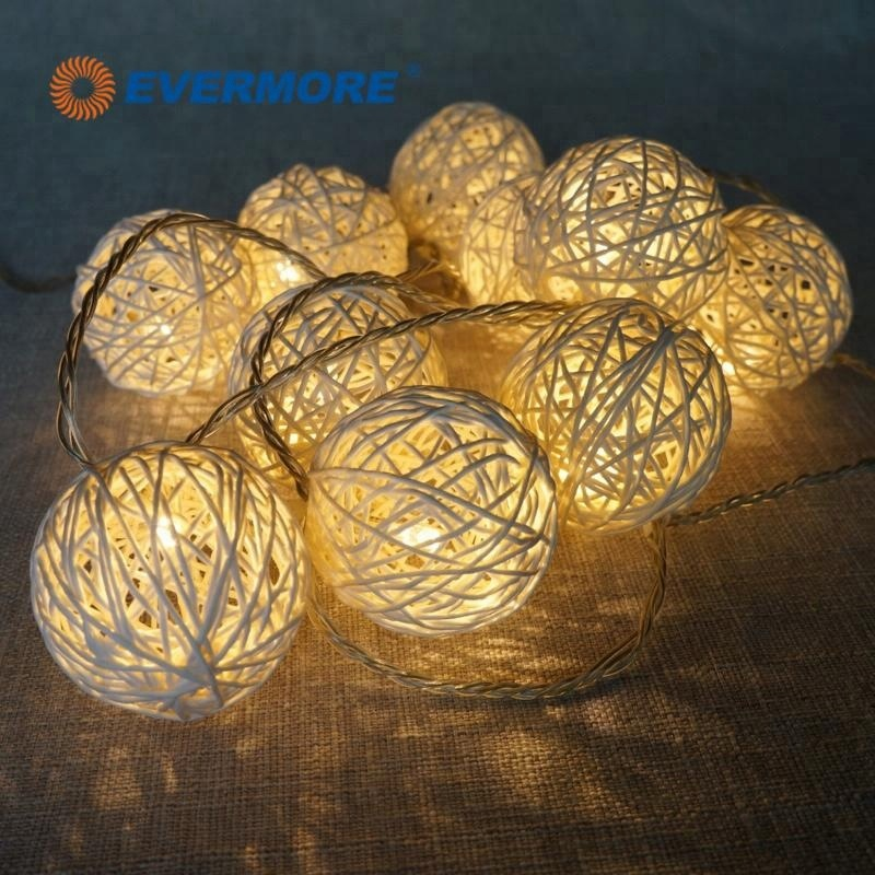 EVERMORE Rattan Ball Christmas Decorative Fairy String Light HD Designs for Outdoor