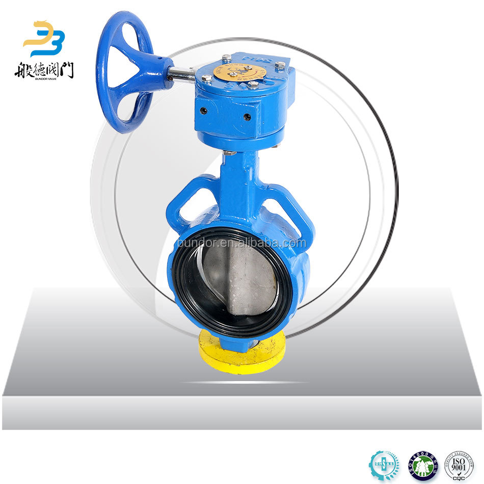 3inch rubber seal ring wafer connection butterfly valve gear operator