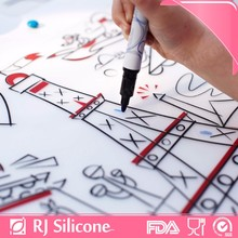 RJSILICONE custom design colorful baby placemat silicon table mat kids silicone drawing table mat