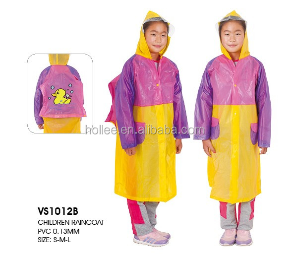 PVC girl school bag raincoat children