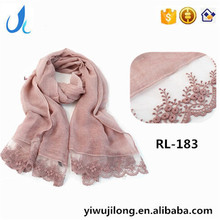 Lace Flower Scarfs China Wholesale Scarf Women Fashion Scarves 100% Viscose Muslim Hijab 180*90 Pashmina Shawls